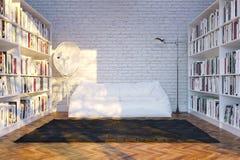 Moden inre rum med den vita soffan  Arkivfoto