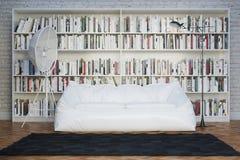 Moden inre rum med den vita soffan  Royaltyfri Bild