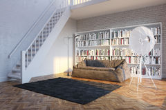 Moden Interior Room With White Sofa (Office Or Library) Royalty Free Stock Image