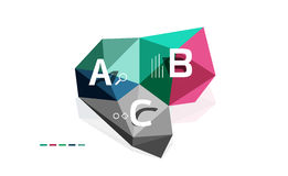 Moden low poly infographics template. With A B C letters stock illustration