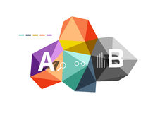 Moden low poly infographics template. With A B C letters royalty free illustration