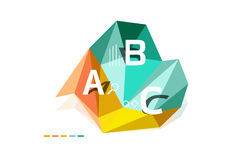 Moden low poly infographics template. With A B C letters Royalty Free Stock Images