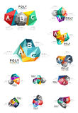 Moden low poly infographics template. With A B C letters Stock Photo