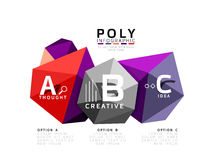 Moden low poly infographics template. With A B C letters Royalty Free Stock Photo