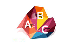 Moden low poly infographics template. With A B C letters Stock Image