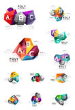 Moden low poly infographics template. With A B C letters vector illustration