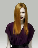 Stare. Exquisite Golden Hair Stylish Woman in Violet Dress. Arrogance Royalty Free Stock Images