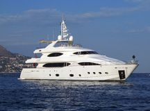 Moden yacht. Very modern white Motor yacht Stock Photos