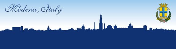 Modena city, Italy, skyline silhouette and coat of arms Royalty Free Stock Photography
