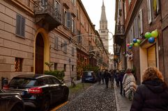 Modena, Emilia Romagna, Italy. December 2018. Ghirlandina is the bell tower of the city. Entering the historical center you immediately notice it. High 86 stock image