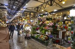 Modena, Emilia Romagna, Italy. December 2018. Interior of the Albinelli market royalty free stock photography