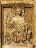 MODENA, ITALIË - APRIL 14, 2018: De hulp Jesus de Leraar in Duomo door Anselmo da Campione 1165-1225 royalty-vrije stock afbeeldingen