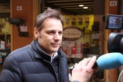 MODENA, ITALIË, 20 FEBRUARI, 2108 - Armando Siri, de politieke economiemanager van Lega Nord ` s Stock Afbeeldingen