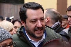 MODENA - ITALIË, 20 FEBRUARI, 2018: Matteo Salvini, openbare politieke conferentie Lega Nord Stock Afbeeldingen
