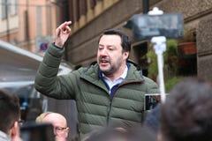 MODENA - ITALIË, 20 FEBRUARI, 2018: Matteo Salvini, openbare politieke conferentie Lega Nord Royalty-vrije Stock Foto's