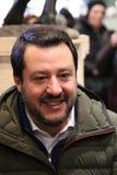 MODENA - ITALIË, 20 FEBRUARI, 2018: Matteo Salvini, openbare politieke conferentie Lega Nord Royalty-vrije Stock Afbeeldingen
