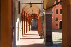 Modena, Italy, ancient arcades of the old town. Original photo, Emilia Romagna Royalty Free Stock Photography