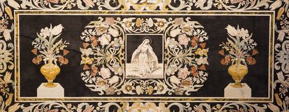Free MODENA, ITALY - APRIL 14, 2018: The Stone Floral Mosaic Pietra Dura With Virgin Mary In Church Abbazia Di San Pietro Royalty Free Stock Photos - 119349938