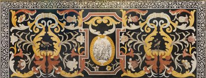 Free MODENA, ITALY - APRIL 14, 2018: The Stone Floral Mosaic Pietra Dura With Virgin Mary In Church Abbazia Di San Pietro Stock Photography - 121920942