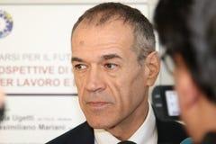 MODENA - ITALY - JANUARY 2019 - Carlo Cottarelli italian economist, public speaking. University of Economy royalty free stock images