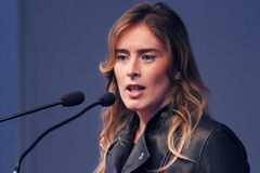 MODENA, Italy, SEPTEMBER, 2016: Maria Elena Boschi, public politic conference Democratic Party Convention Stock Photography