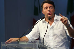 MODENA, Italy, SEPTEMBER, 2016: Matteo Renzi, public politic conference Democratic Party Convention Stock Photography