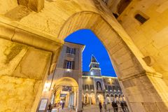 Modena piazza Grande, with its cathedral and city`s civic tower, has been included since 1997 in the list of Italian heritage. Sites by UNESCO italy royalty free stock photos