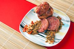Modena Pig Trotter with Lentils Stock Photos