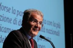 Modena, Włochy, Kwiecień 2019 - Romano Prodi, jawna konferencja, Europejski polityk zdjęcia stock