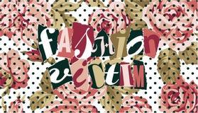 Modeopfer mit Rosen und Tupfenhintergrund lizenzfreie abbildung