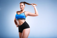 Modep plus size in a studio Royalty Free Stock Images