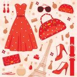 modeparis set royaltyfri illustrationer