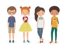 Modepojkar och flickor den främmande tecknad filmkatten flyr illustrationtakvektorn Royaltyfria Bilder
