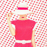 Modepolka Dots Woman Royaltyfria Bilder