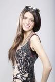 Modeporträt der jungen Brunettefrau Stockbilder