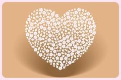 Moder-dag hjärta som göras av körsbärsröda blomningar på propellerström stock illustrationer