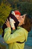 moder för 3 barn Arkivfoto