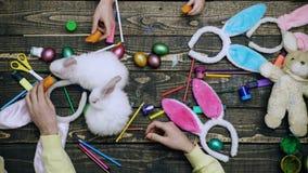 Moder, fader och deras barnmålningägg Lycklig familj som förbereder sig för påsk Händer stänger sig upp att färga på påskägg lager videofilmer