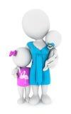 moder för vitt folk 3d med hennes barn Arkivfoton