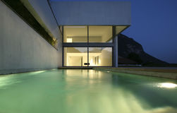 Moder house. Modern house a summer night Stock Photography