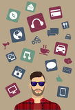 Moder icons, men background, vector illustration. Different hipster icons with man background, vector illustration Royalty Free Stock Image