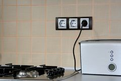 Moder kitchen detail. Modern kitchen detail - toaster and gas stove stock photography