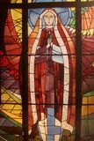 Moder Mary Stained Glass Window Catholic Christin Royaltyfri Fotografi