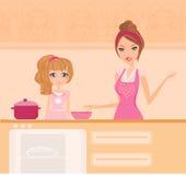 Moder med dottern som plattforer i kök Fotografering för Bildbyråer