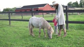 Moder med hennes lilla dotter som daltar en gullig ponny på en lantgård stock video