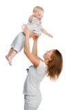 Moder med sonen Arkivfoton
