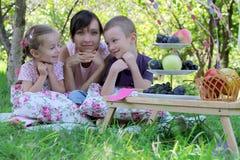 Moder med två barn som har sommarpicknicken Arkivbild