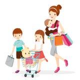 Moder och barn som tillsammans shoppar royaltyfri illustrationer