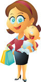 Moder- och barnshopping Royaltyfria Foton