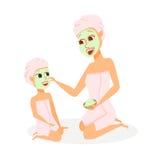 Moder och dotter i brunnsort royaltyfri illustrationer
